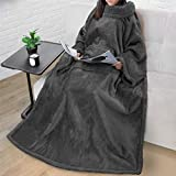 Premium Sherpa Fleece Blanket with Sleeves for Adult Women, Men | Cozy, Warm, Super Soft, Plush Wearable Throw for Couch, Sofa | Lightweight Microfiber (Charcoal)