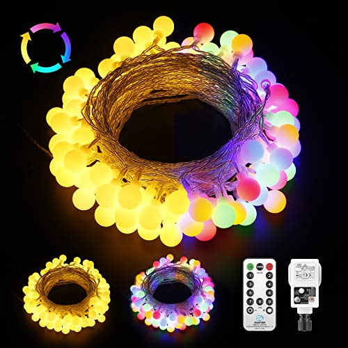 Newest Globe String Lights Plug in Powered,15M/49ft 100 LED Fairy Lights Waterproof with Remote Control, 9 Modes Garden Lights Decor for Patio Bedroom Party Indoor/Outdoor-Warm White Multicolored