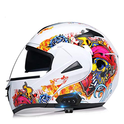 Casco de Moto Bluetooth Integrado Cascos de Motocicleta Flip Up Modular con Doble Visera Micrófono de Altavoz Incorporado ECE Homologado Casco de Moto Integral para Hombre Mujer I,L