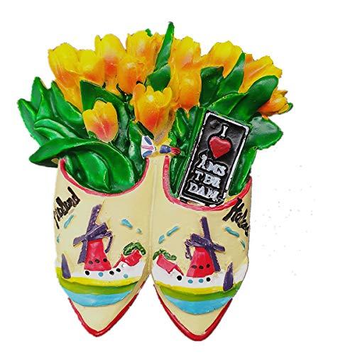 Calamita da frigorifero a forma di tulipano e mulino a vento di Amsterdam Holland Paesi Bassi, decorazione per la casa e la cucina, magnete magnetico per frigorifero, regalo di viaggio