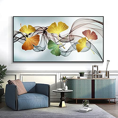 Hoja de Ginkgo y pintura impresa en lienzo, póster nórdico, cuadro artístico de pared para la decoración del hogar de la sala de estar 50x100 CM (sin marco)