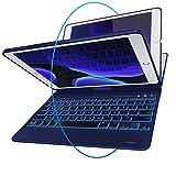 iPad Keyboard Case for iPad 2018 (6th Gen) - iPad 2017 (5th Gen) - iPad Pro 9.7 - iPad Air 2 & 1 - Thin & Light - 360 Rotatable - Wireless/BT - Backlit 10 Color - iPad Case with Keyboard (Mazarine)