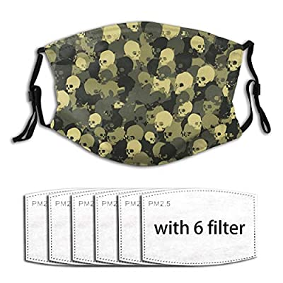 Skull Camo Reusable Activated Carbon Filter Face Shield With 6 Filter Replaceable for Men Women