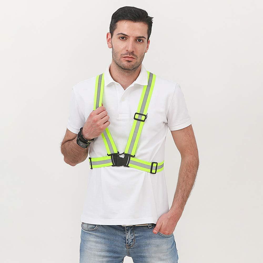Jogging Walking and Running Running Gear Safety Vest Waist Belt High Visibility for Outdoor Cycling ZEVONDA Adjustable Reflective Vest