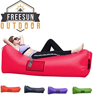 Freesun Inflatable Lounger | Indoor Poolside Hammock | Outdoor Camping Hiking Air Sofa | Portable Sack | Lightweight Couch for Beach, Backyard with Free Travel Bag, Neck Support Headrest