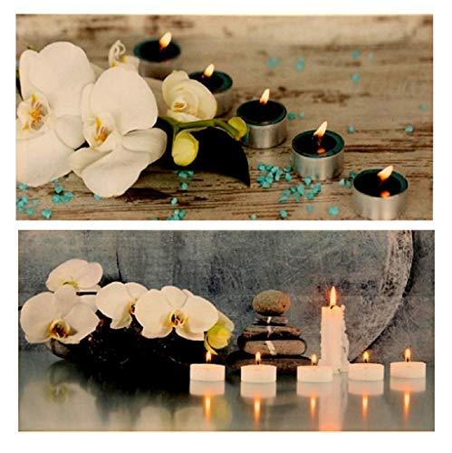 Geschenkestadl 2 Stück Set LED Wandbild Orchidee Feng Shui beleuchtet je 30cm x 60cm Leinwand Bild