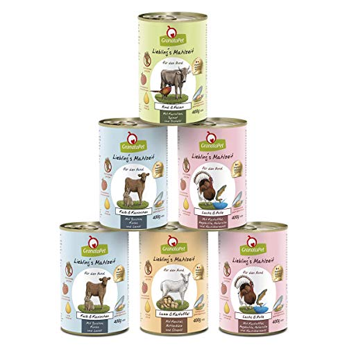 GranataPet Liebling's Mahlzeit Multipack 3, Nassfutter für Hunde, Hundefutter ohne Getreide & ohne Zuckerzusätze, Alleinfuttermittel, 6 x 400 g