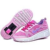 Zapatillas con Ajustable Rueda para niños niña Zapatos con Dos Ruedas Automática Calzado de Skateboarding Deportes de Exterior Patines en Línea Aire Libre (Rosa, Numeric_34)