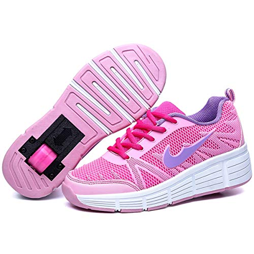 Zapatillas con Ajustable Rueda para niños niña Zapatos con Dos Ruedas Automática Calzado de Skateboarding Deportes de Exterior Patines en Línea Aire Libre (Rosa, Numeric_32)