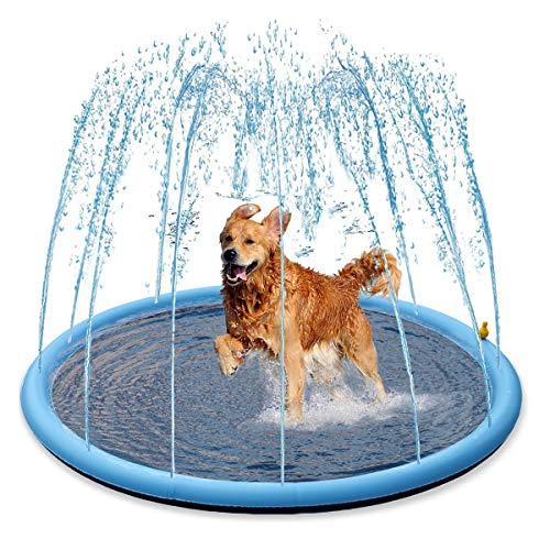 """Splash Sprinkler Pad for Dogs Kids - 59"""" Thicken Dogs Pet Kids Swimming Pool Bathtub, 2020 New Pet Summer Backyard Playset & Water Toys, Gift for Kids, Toddlers and Dogs"""