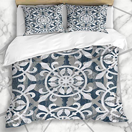 Conjuntos de Funda nórdica Medieval Gray Seamless De Ornament Pattern Renacimiento Flower Interiors lis Pavimento Hoja Texturas Microfibra Suave Dormitorio Decorativo con 2 Fundas de Almohada