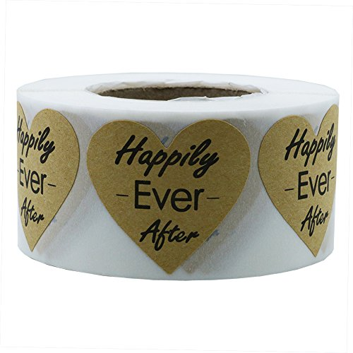 Hybsk Heart Happily Ever After Stickers Kraft 1.5 InchTotal 500 Labels Per Roll (Kraft Paper)