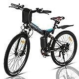 VIVI Bicicleta Electrica Plegable 350W Bicicleta Eléctrica Montaña, Bicicleta Montaña Adulto Bicicleta Electrica Plegable 26', Batería de 8 Ah, 32 km/h Velocidad MÁX (Negro)