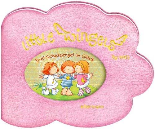 Little Wingels - Drei Schutzengel im Glück: Cover aus rosa Plüschbezug mit Lurex-Stickerei