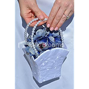 Artificial Blue Fresh Touch Anemone Flowergirl Basket w/ Pearl Handle