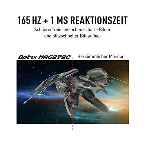 MSI Optix MAG272C-002 69,0 cm (27 Zoll) Curved Gaming LED Monitor (Full HD (1920 x 1080), 1 ms, 165 Hz, R1500 Curved Design, Freesync, HDR ready) schwarz