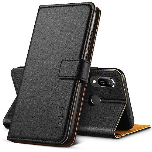 Hianjoo Hülle Kompatibel für Huawei Y6 2019, Handyhülle Tasche Premium Leder Flip Wallet Hülle Kompatibel für Huawei Honor 8A [Standfunktion/Kartenfächern/Magnetic Closure Snap], Schwarz