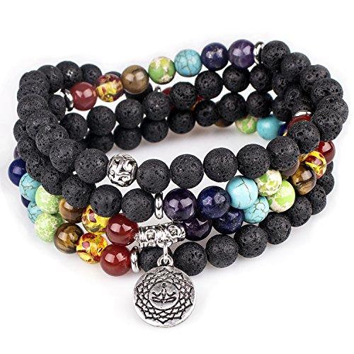 PWMENLK Lava Beads,Mala Prayer Beads OM Buddha Pendant 7 Chakra Tibetan Buddhist Healing Lava Rock Gemstone Meditation Wrap Necklace Bracelet(Lava,OM Buddha)