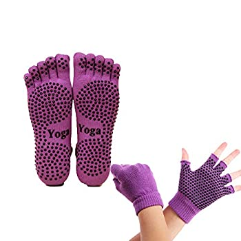 ThreeH Yoga Socks and Gloves Set Non-slip for Women Yoga Dance and Pilates with Toes Size4.5-7