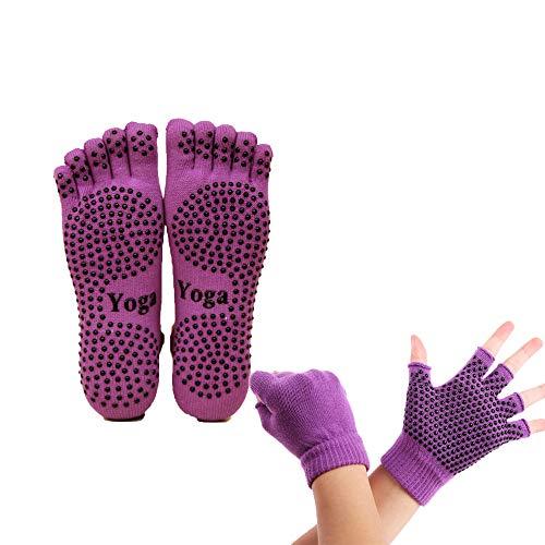 ThreeH Conjunto de guantes y calcetines de yoga antideslizante para mujeres Yoga Dance y Pilates con dedos del pie Tamaño4.5-7