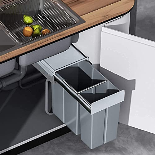 tonchean Pull Out Trash Can Under Cabinet 20 Quart + 10 Quart Under Sink Trash Can Double Sliding Trash Can Kitchen Pull Out Recycling Bin Waste Container for Garbage Classification