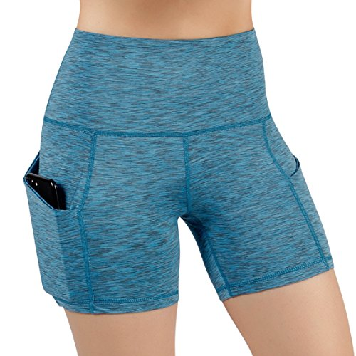 ODODOS High Waist Out Pocket Yoga Short Tummy Control Workout Running Athletic Non See-Through Yoga Shorts,SpaceDyeBlue,Large