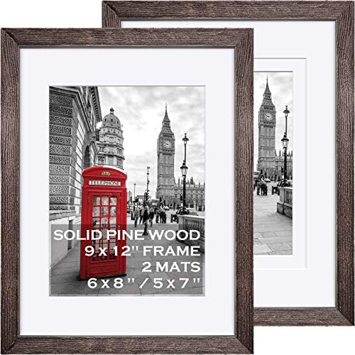 9x12 Picture Frames Wood Rustic Driftwood Brown Display Pictures 6x8 or 5x7 with Mat or 9x12 without Mat - Farmhouse Distressed Photo Frame for Art with 2 Mats Wall Mounting or Table Top - Set of 2