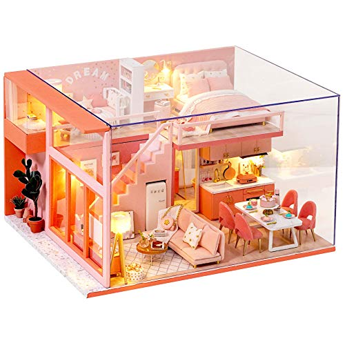 Spilay DIY Miniature Dollhouse Wooden Furniture Kit,Handmade Mini Modern Apartment Model with Dust Cover & Music Box ,1:24 Scale Creative Dollhouse Toy for Teens Adult Gift (Sweet Angel)