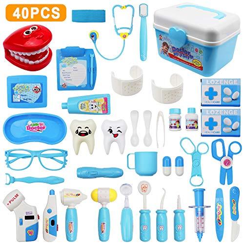 LIVEHITOP 40 Pezzi Dottore Giocattolo Valigetta del Medico Kit, Dottore Dentista Giochi di Ruolo Bambini Educativo, Medico Costume per Bambini