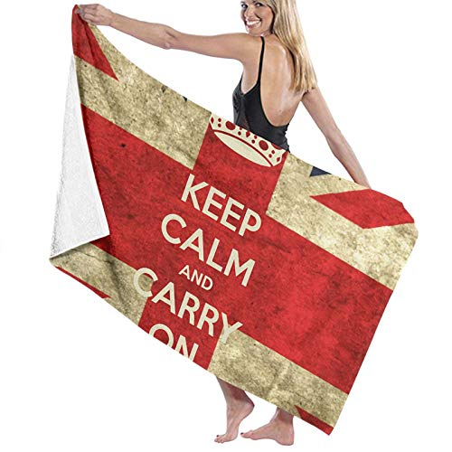 ghjkuyt412 Bath Towel,80X130Cm Keep Calm and Carry On with UK Flag Bath Towels Super Absorbent Beach Bathroom Towels For Gym Beach SWM SPA