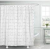 Cortina de Ducha Cortina de baño Conjunto de Tela de poliéster Impermeable con Ganchos Lunares Blancos Plateados Trama Gris Liso Luz Bebé180X180Cm 5R