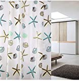 シャワーカーテン 防水 防カビ 加工 浴室 カーテン 風呂カーテン 防水 間仕切り 遮像 リング付属 厚手 取り付け簡単 2デザイン (貝殻柄S)