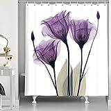 NYMB Elegant Tulip Purple Flower Shower Curtain, Violet Floral Decor Giclee Prints Artwork Modern Home Decorations Bath Curtain, Waterproof Polyester Fabric Bathroom Decor Set, 69X70 Inches, Purple