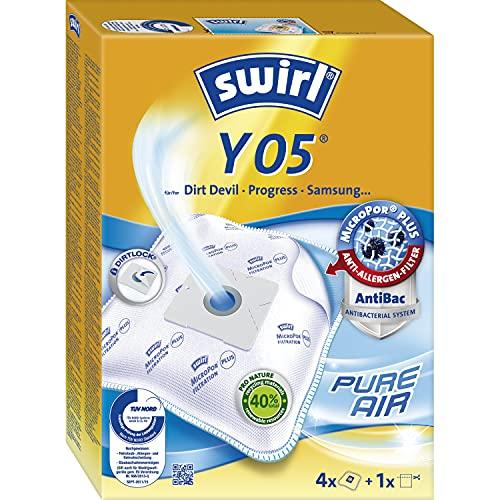 Swirl Y 05 MicroPor Plus Staubsaugerbeutel für Dirt Devil, Progress, Samsung Staubsauger, Anti-Allergen-Filter, 4 Stück inkl. Filter