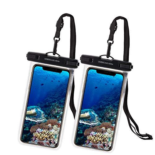 UNBREAKcable wasserdichte Handyhülle - [2 Stück] 7.0 Zoll IPX8 Unterwasser handyhülle wasserdicht Urlaub Zubehör für Schwimmen, Baden für iPhone 12 Pro Max/12/11/XS/X, Samsung und Mehr - Transparent