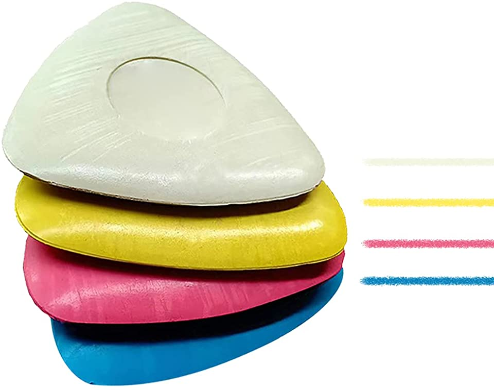 CVOZO Schneiderkreide, Dreieckskreide für Schneiderarbeiten, 4 Stücke Schneiderkreide, für Schneiderei, Nähen, Quilten, Handwerk, Vorstellungen, Stoff (4 Farben)