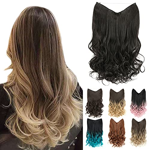 """GIRLSHOW 20"""" Halo Hair Extensions 4.41 Oz Synthetic Curly Wavy Long Invisible Transparent Wire Adjustable Size Heat Resistance Fiber No Clip Hairpieces for Women Girls (Natural Black -#113A, 20 Inch) -  MAYSA"""
