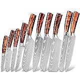 Conjunto de cuchillos profesionales de acero inoxidable Damasco patrón chef japonés cortando pan Santoku Cuchillos de huesos de cocción conjunto (Color : Style A)