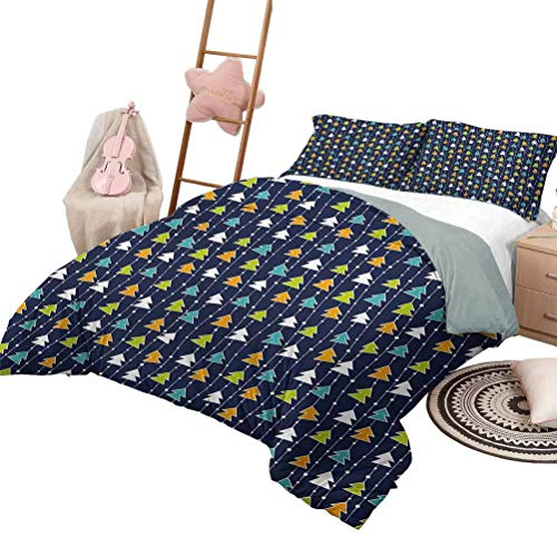 DayDayFun 3 Piece Coverlet Set Winter Smooth Soft Quilt Colorful Pine Tree Silhouettes on Vertical Stripes Festive Pattern Xmas Celebration King Size Multicolor