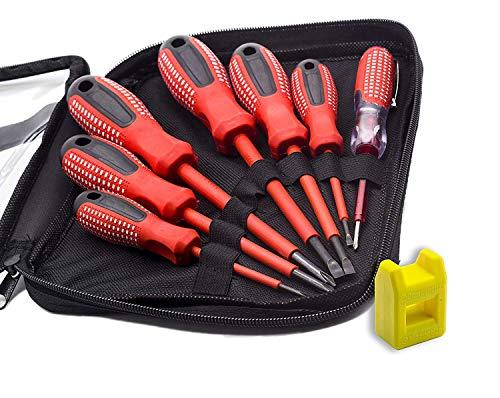 Finder 7pcs profesional destornilladores de electricista con aislamiento con bolsa, Electroprobe, Industrial nivel, acero cromo vanadio puntas magnéticas, color rojo y negro