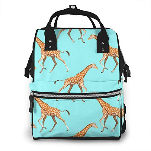 JUKIL Mochila de pañales Running Giraffe Animal Waterproof Mummy Backpack Summer Style School Backpack School Bag Stylish Large Capacity Tote Bag Diaper Bag Backpack For Shopping, Vocation, Party