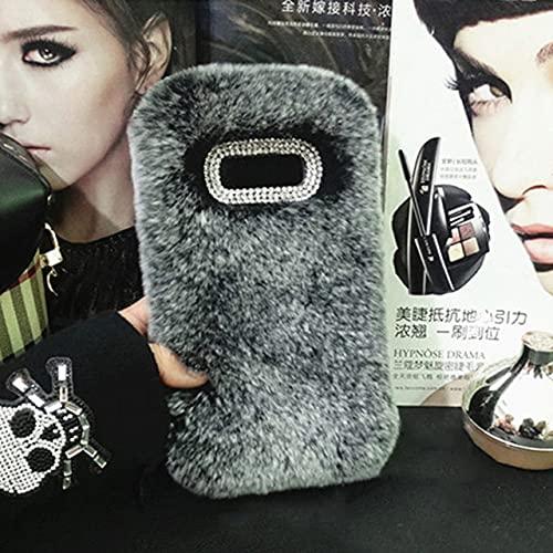 Estuche de Felpa para Samsung Galaxy S8 S9 S10 Plus S7 Note 10 9 8 A7 A6 A8 Plus J3 J5 J7 J6 2017 2018 Estuches para teléfonos Peludos Cubierta de TPU, Gris Oscuro, para A6 Plus