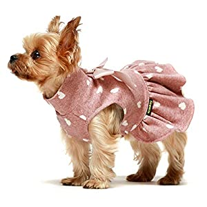 Fitwarm Pet Clothes for Dog Dresses Puppy Turtleneck Dress Doggie Outfits Birthday Party Costumes Pink Small