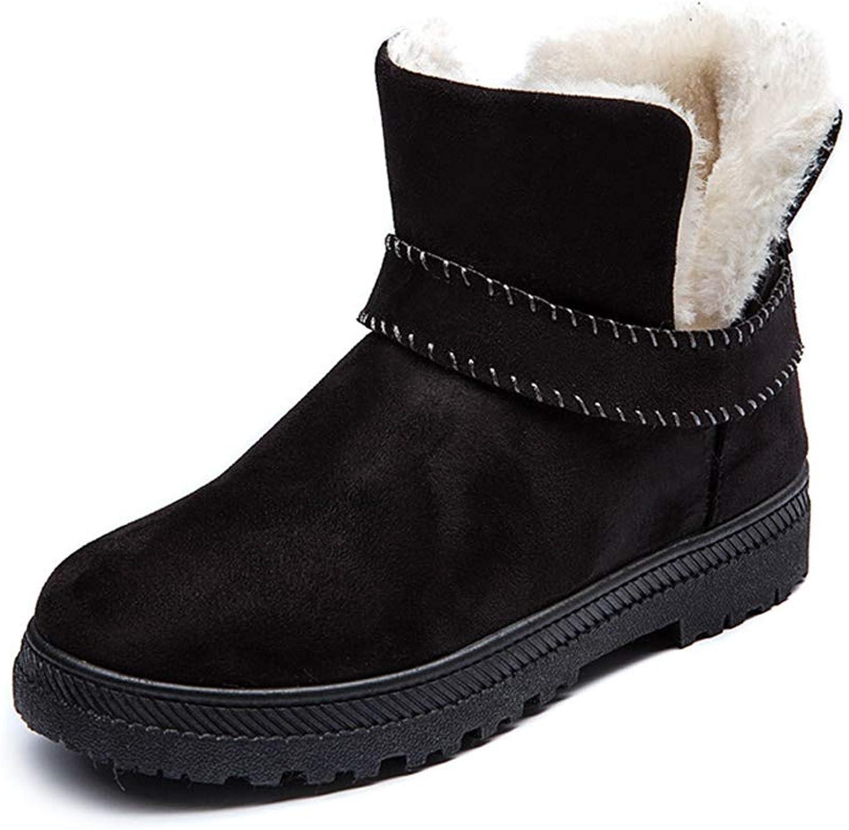 JOYBI Women Fashion Round Toe Ankle Boots Flat Comfortable Warm Fur Lined Flock Slip On Snow Short Boot