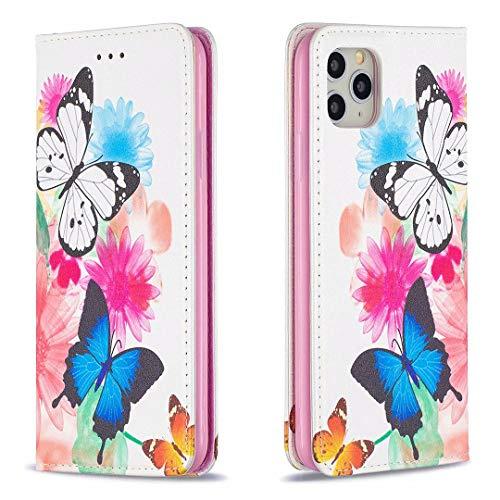Miagon Brieftasche Hülle für iPhone 11 Pro,Kreativ Gemalt Handytasche Case PU Leder Geldbörse mit Kartenfach Wallet Cover Klapphülle,Schmetterling Blume