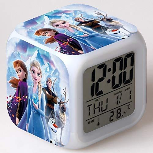 FDGFDG Schnee Märchen Film Thema digitalen Wecker LED Farbwechsel niedlichen Cartoon Prinzessin Prinzessin Uhr Uhr mit Temperatur Kinderuhr Mini