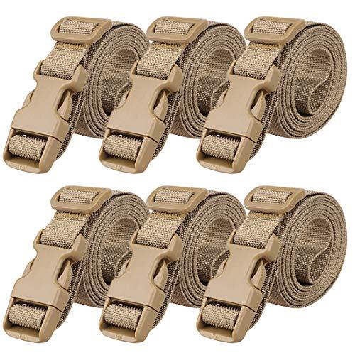 Magarrow Koffergurt Kofferband Gepäckgurte Einstellbare Reisezubehör Gepäckgurt Koffer Reiseschnalle Gürtel Rutschfester Verpackungsgürtel für Reise (Braun- 6pcs)