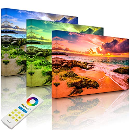 Lightbox-Multicolor | Wandbild mit LED Beleuchtung | Sonnuntergang auf Hawaii | 80x60 cm | Fully Lighted