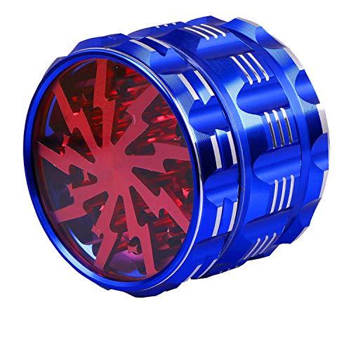 Ausma Molinillo De Hierbas,Premium Aluminio 4 Piezas Grinder metalico para Hierbas y Especias con Colector De Polen,2.5 Inch Azul_ Rojo