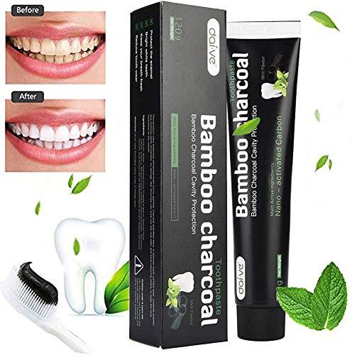 Dentifricio al Carbone Attivo, Dentifricio Sbiancante, Rinfrescante orale, Antibatterico, Pulizia Intensiva, 100% Naturale